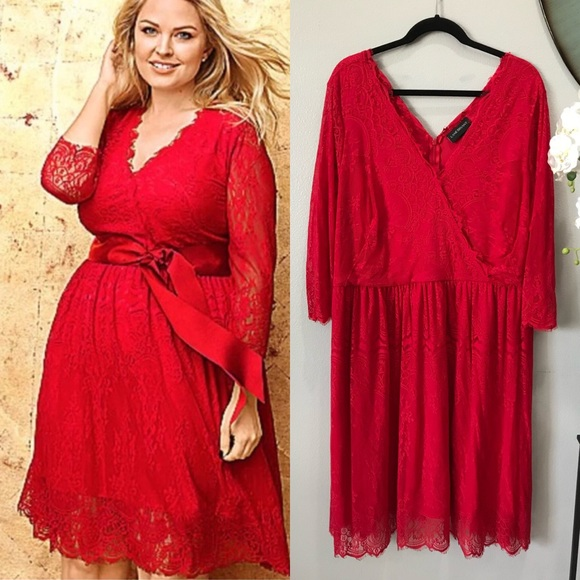 1468d9cdb43 Lane Bryant Dresses   Skirts - Plus size Lane Bryant Red Holiday Lace Midi  Dress